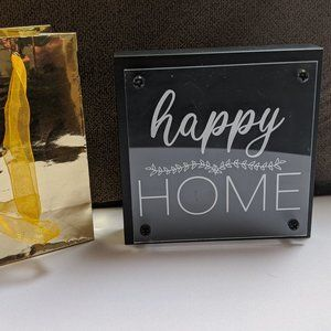 SHELF/DESK ART 'HAPPY HOME' Layered Plaque NWT